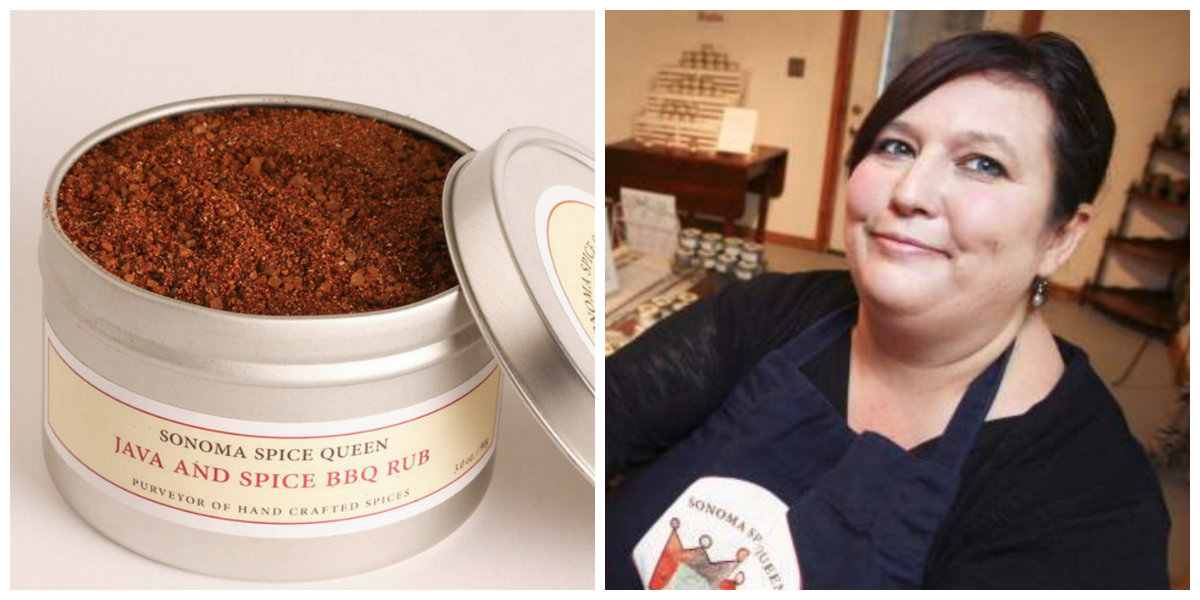 There's the rub: The Java and Spice BBQ Rub and Sonoma Spice Queen Wind McAlister (portrait by Scott Manchester/Argus-Courier Staff).